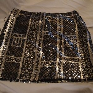 ABS Sequined Mini Skirt Silver & Black Size 4